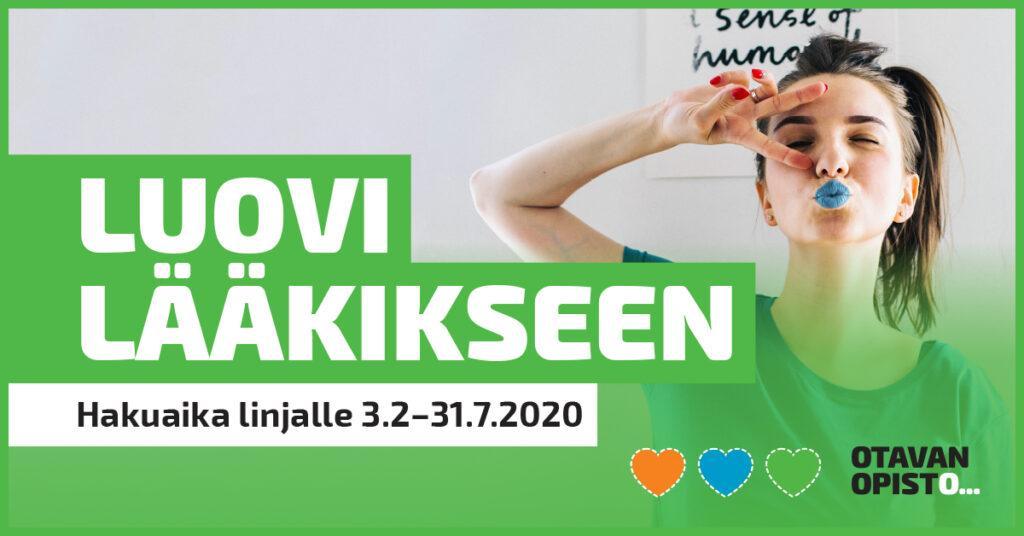 Lääkislinjan hakumainos. Teksti: hakuaika linjalle 3.2.-31.7.2020. Kuva on linkki sivulle www.otavanopisto.fi/koulutukset/laakislinja