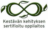 Kuva sisältää Okko-säätiön kestävän kehityksen oppilaitossertifikaatin logon ja linkin koulujaymparisto.fi-sivustolle.
